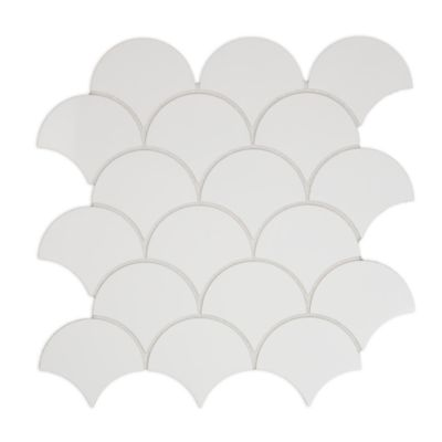 kanso scallop mosaic in winter white gloss
