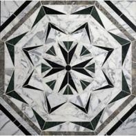 laurel in arabescato, verde, nero marquina, silver ebru