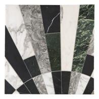 palm in arabescato, nero marquina, verde, silver ebru