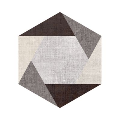 Decorative hexagon in silver-taupe.  *The mixed decorative hexagons come in a mix of designs and color blends