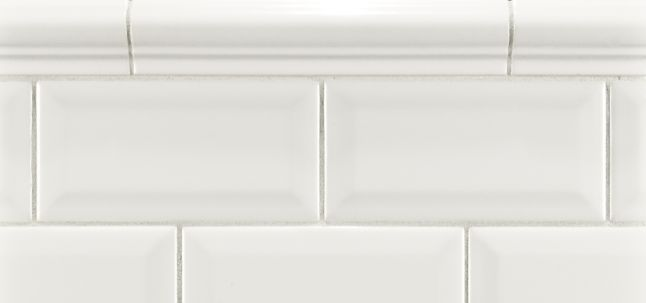 "3"" x 6"" beveled field and 1-1/2"" x 8"" cap molding in white"