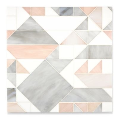 Gio mosaic in absolute white, alabaster and champagne in a sea glass finish