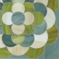 chrysanthemum mosaic in peridot, jade, and quartz