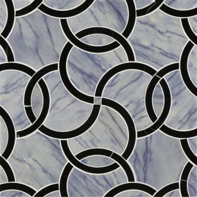 coco mosaic in negro marquina and blue macauba