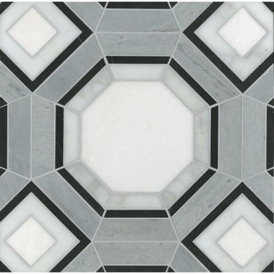 gregory mosaic in negro marquina, thassos, calacatta tia, and bardiglio