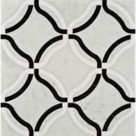 kelly mosaic in thassos, negro marquina, and carrara