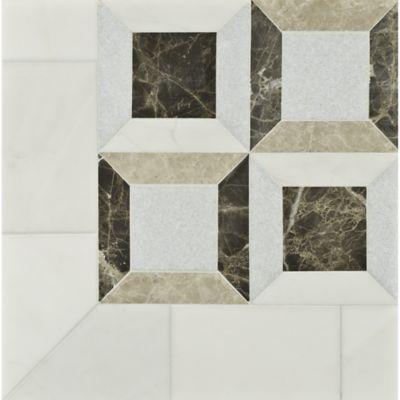 lauren mosaic in heavenly cream, celeste, travertine noce, and emperador light