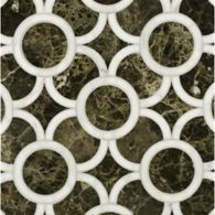 montgomery small mosaic in calacatta tia and emperador dark
