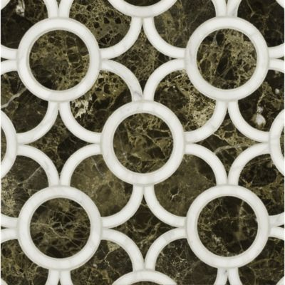 montgomery small mosaic in calacatta tia and emperador dark
