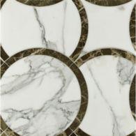 montgomery large mosaic in calacatta tia and emperador dark