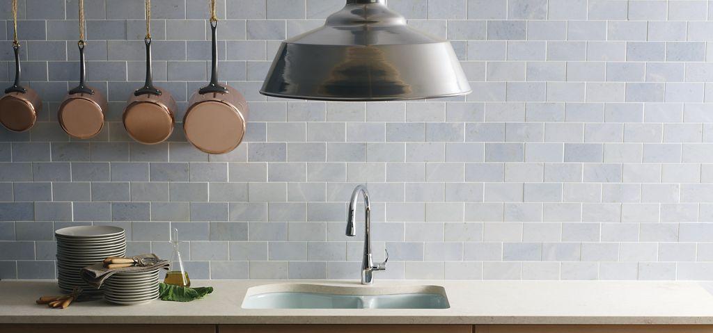 Ann Sacks Glass Tile Backsplash Blue Celeste  Ann Sacks Tile & Stone