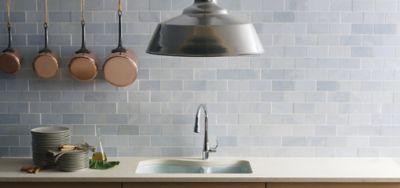 3   x 6   field in honed finish with kohler lawnfield kitchen sink and simplice blue celeste   ann sacks tile  u0026 stone  rh   annsacks com