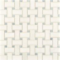 white thassos/blue celeste basketweave mosaic in honed finish