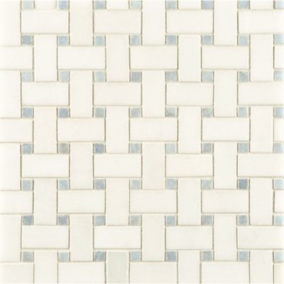 white thassos/blue celeste basketweave mosaic in honed finish