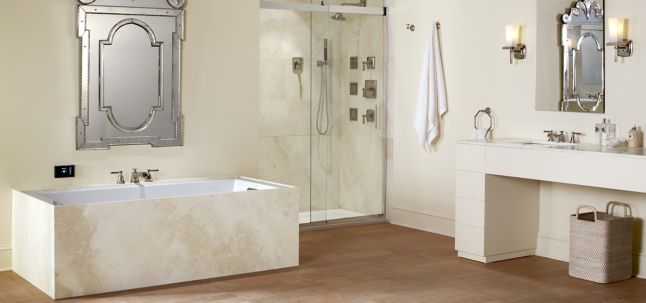 "30"" x 72"" slab in honed finish with KOHLER Catalan 24-1/8"" x 36"" aluminum single-door medicine cabinet, Marqaux wall sconce, Pinstripe Pure deck-mount bath faucet trim for high-flow valve with lever handles, thermostatic valve trim with lever handle, widespread bathroom sink faucet with lever handles, Pinstripe toilet tissue holder, single-function showerhead, showerarm and flange, towel ring, robe hook, WaterTile square 22-nozzle bodyspray with stimulating spray, Loure wall-mount handshower holder and supply elbow, Shift square multifunction handshower with black handle, Underscore VibrAcoustic 66"" x 32"" bath with chromatherapy, Verticyl rectangular under-mount bathroom sink, Ballast 60"" x 32"" shower base with right-hand drain, and MasterShower 60"" metal shower hose (photographer: Rich Maciejewski)"