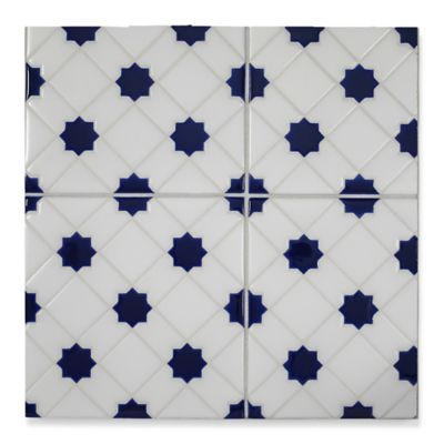 "6"" x 6"" mci-76 decorative tile in Talc, Cusack, Blue Gloss"