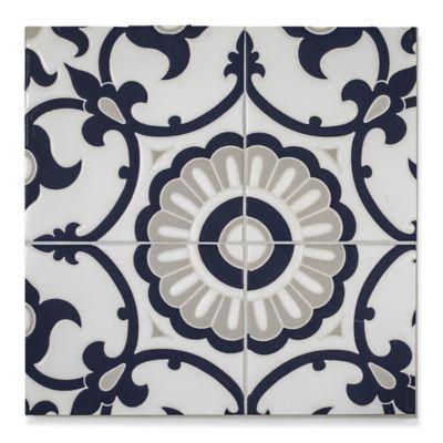 "6"" x 6"" mcq-12 decorative tile in Talc, Fog, Indigo"