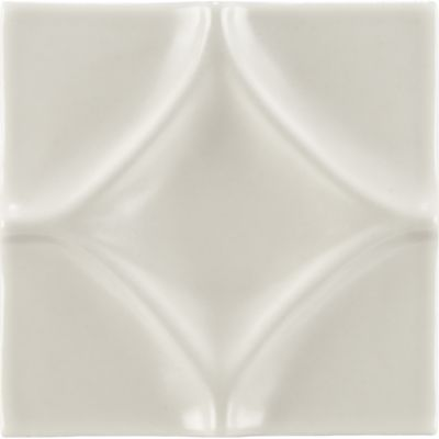 "4"" x 4"" harlequin decorative tile in warm candle white gloss"