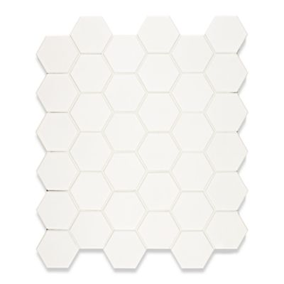 Hexagon mosaic in gloss white