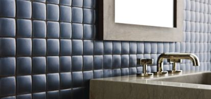 """1-3/4"""" x 1-3/4"""" pillowed mosaic in metallic black with KALLISTA Michael S Smith For Loft wall sconce and One widespread basin set with cross handles and ANN SACKS Orlo pedestal and Fairchild bath furnishings (photographer: Tom McWilliam)"""