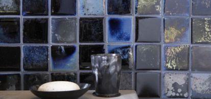 "3"" x 3"" field in blue silver gold luster with KALLISTA Laura Kirar Vir Stil plumbing"