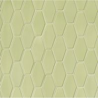 "3-1/2"" x 6"" elongated hex raised edge field and 3-1/2"" x 6"" elongated hex embossed edge field in celery gloss"