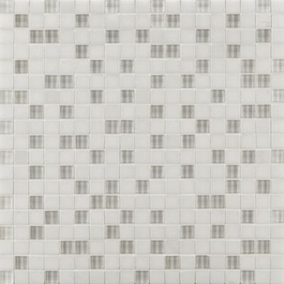 """5/8"""" straight mosaic in thassos with clear glass"""