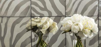 "10"" x 10"" zebra 1 field, 10"" x 10"" zebra 2 field, 10"" x 10"" zebra 3 field and 10"" x 10"" zebra 4 field in argent (photographer: Tom McWilliam)"