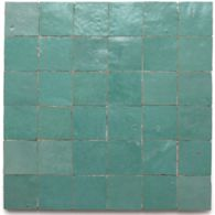 "2"" x 2"" stacked mosaic in aqua green"
