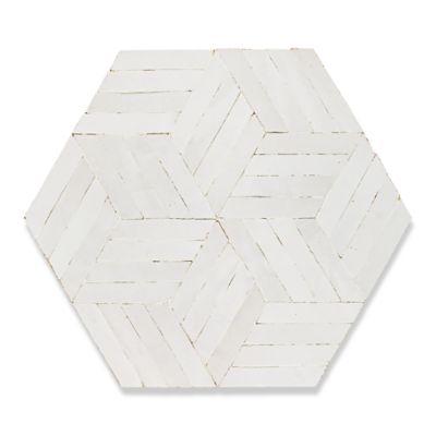 Almas mosaic in white carrare