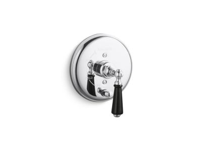 Pressure Balance Trim with Diverter, Black Porcelain Lever Handle