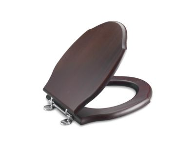 Mahogany Toilet Seat, Elongated, with Chrome Trim