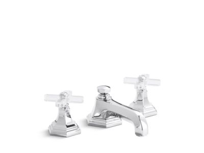Sink Faucet, Low Spout, Crystal Cross Handles