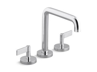 Deck-Mount Bath Faucet, Tall-Spout, Lever Handles