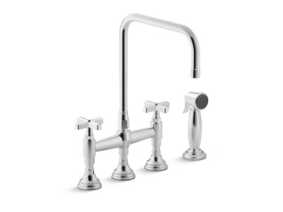 Kitchen Faucet with Sidespray, Cross Handles
