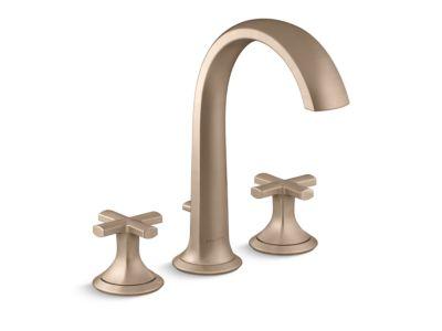 Deck-Mount Bath Faucet with Diverter, Cross Handles