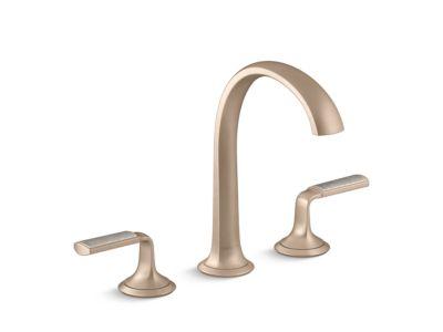 Sink Faucet, Arch Spout, Flannel Grey Wave Enamel Lever Handles