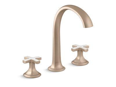 Sink Faucet, Arch Spout, Frost Ripple Enamel Cross Handles