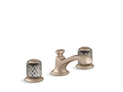Sink Faucet, Low Spout, Saint-Louis Crystal, Flannel Grey Knob Handles