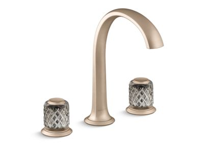 Sink Faucet, Arch Spout, Saint-Louis Crystal, Flannel Grey Knob Handles