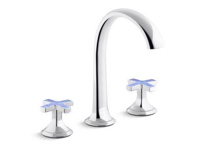 Sink Faucet, Arch Spout, Celeste Blue Ripple Enamel Cross Handles