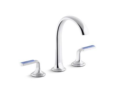 Sink Faucet, Arch Spout, Celeste Blue Wave Enamel Lever Handles