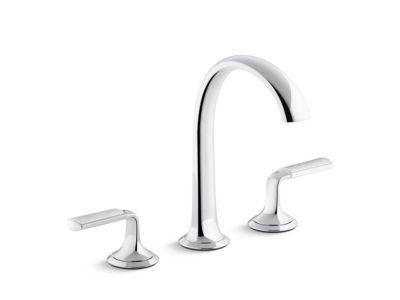 Sink Faucet, Arch Spout, Frost Wave Enamel Lever Handles