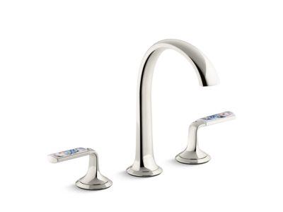 Sink Faucet, Arch Spout, Spring Rain Enamel Lever Handles