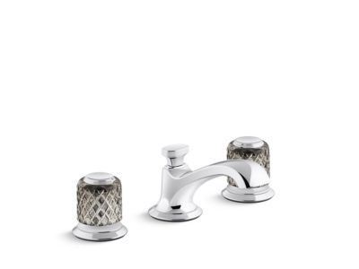 Sink Faucet, Low Spout, Saint-Louis Crystal, Flannel Grey Knob Handles