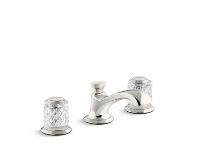 Sink Faucet, Low Spout, Saint-Louis Crystal, Clear Knob Handles