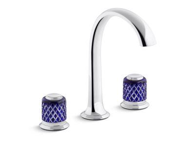 Sink Faucet, Arch Spout, Saint-Louis Crystal, Dark Blue Knob Handles