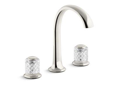 Sink Faucet, Arch Spout, Saint-Louis Crystal, Clear Knob Handles