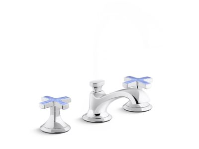 Sink Faucet, Low Spout, Celeste Blue Ripple Enamel Cross Handles