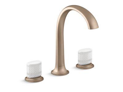 Sink Faucet, Arch Spout, White Porcelain Knob Handles